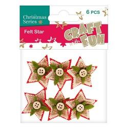 Karácsonyi filc CF csillag gombbal díszítve 6 db/csomag