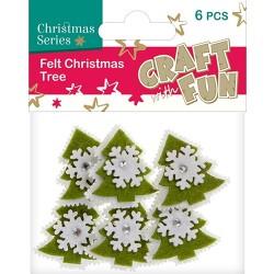 Karácsonyi filc CF karácsonyfa hópihével zöld-fehér 6 db/csomag