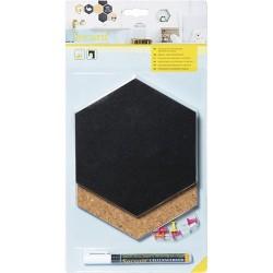 Krétatábla Securit 15,5x18 cm Hatszög parafa&kreatív készlet 7 darabos; krétamarkerrel, táblatűkkel és ragasztócsíkkal