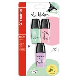 Szövegkiemelő Stabilo Boss Mini Pastellove 3 db-os klt. (menta, pink, lila)