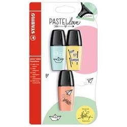 Szövegkiemelő Stabilo Boss Mini Pastellove 3 db-os készlet (türkiz, sárga, barack)