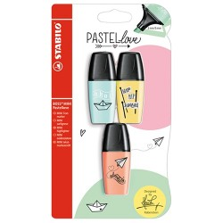 Szövegkiemelő Stabilo Boss Mini Pastellove 3 db-os klt. (türkiz, sárga, barack)