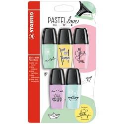 Szövegkiemelő Stabilo Boss Mini Pastellove 5 db-os klt. (lila, türkiz, menta, sárga, pink)