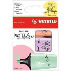 Szövegkiemelő Stabilo Boss Mini Pastellove 3 db-os készlet (menta, lila, barack)