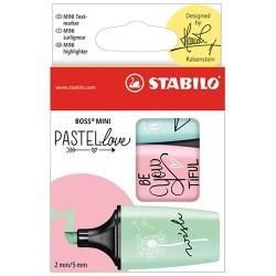 Szövegkiemelő Stabilo Boss Mini Pastellove 3 db-os készlet (menta, pink, türkiz)