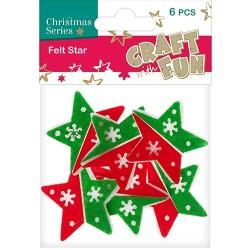 Karácsonyi filc CF piros-zöld csillag 6 db/csomag