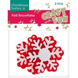 Karácsonyi filc CF nagy hópihe piros-fehér 2 db/csomag