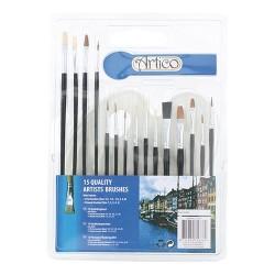 Ecsetkészlet Artico 16 db-os klt. műanyag paletta+ 6 db lapos, 9 db kerek ecset