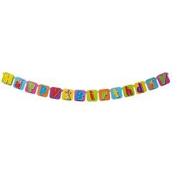 Girland fólia papír 1,75 m Happy Birthday felirat
