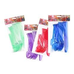 Evőeszköz műanyag 24/csomag 4 féle szín