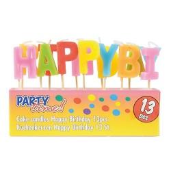 Gyertya 7 cm 13 db / csomag Happy Birthday