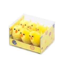 Húsvéti plüss csibe 6 db/doboz 3,5 cm