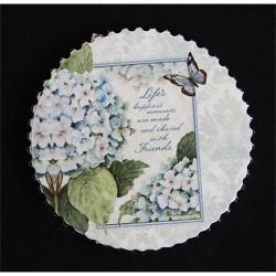 Hűtőmágnes kör 7,2 cm fehér hortenzia