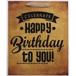 Dísztasak matt boros 12 x 36 cm barna Happy Birthday to you