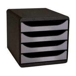 Irattartó box műanyag Exacompta BIG BOX 4 fiókos fekete/ezüst metál
