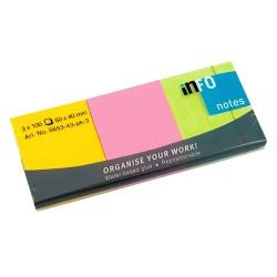 Öntapadós jegyzettömb Info Notes 50x40mm 3x100lapos élénk vegyes színű