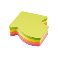 Öntapadós jegyzettömb Info Notes 70x70 mm 200 lapos neon vegyes színek görbe nyíl