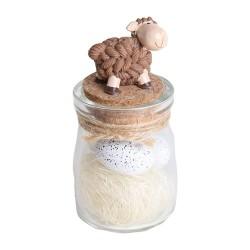 Húsvéti bárány üveg fészekkel, 11 cm barna ( P )