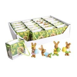 Húsvéti nyúl papír tasakban 3,5 cm 4 féle (polirezin )