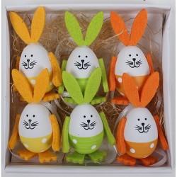 Húsvéti nyuszifigurás tojás sárga/zöld/narancs 4cm 6 db/csomag