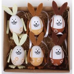 Húsvéti tyúkfigurás tojás natúr/barna 4 cm 6 db/csomag