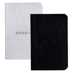 Füzet Clairefontaine Rhodiarama 7x10,5 cm 32 lapos vonalas puha fedeles, gumis, fekete+ezüst