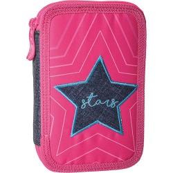 Tolltartó Play Star 2 zippes üres rózsaszín