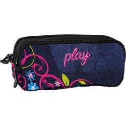 Tolltartó Play B64 Flower Jeans 2 zippes álló denim-virágos