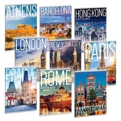 Füzet Ars Una nagyalakú extra kapcsos 40 lapos sima cities of the world (932) 19