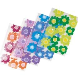 Irattartó tasak Comix A/4 patentos Flowers A1830 (rózsa,zöld,kék, lila) M