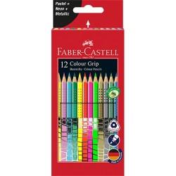 Színes ceruza Faber-Castell Grip 12 db-os klt. (pasztell,neon,metál színek)