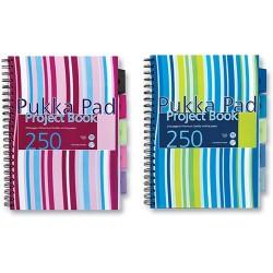 Spirálfüzet A/4 Pukka Pad 250 oldalas vonalas,5 regiszteres színes PROBA4