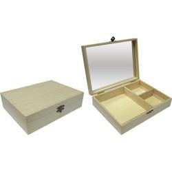 Kreatív fa tükrös ékszertartó doboz, 3 rekeszes 20 x 15 x 5 cm