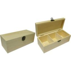Kreatív fa doboz 3 rekeszes 22 x 9,5 x 8 cm