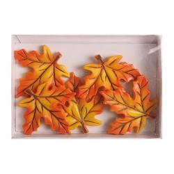Kreatív dekoráció levél 5 db/csomag narancssárga rövid ( polirezin)