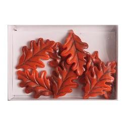 Kreatív dekoráció levél 8 db/csomag narancssárga hosszú ( polirezin)