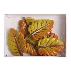 Kreatív dekoráció levél 5 db/csomag zöld hosszú ( polirezin)