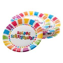 Tányér papír 23 cm 6 db/cs Boldog születésnapot csíkos-pöttyös