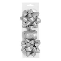 Masni szett glitteres ezüst ( 2 db masni+kötöző 10 m-es )