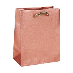 Dísztasak műanyag glitteres 18x23 cm rosegold
