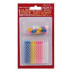 Gyertya 6 cm szülinapi színes tartókkal 12 db/csomag