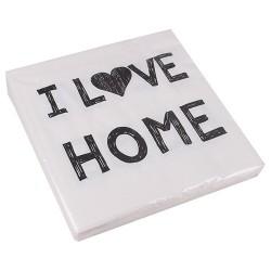 Szalvéta 33 x 33 cm 3 rétegű I love home fehér
