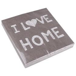 Szalvéta 33 x 33 cm 3 rétegű I love home szürke