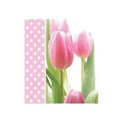 Szalvéta 33 x 33 cm 3 rétegű Rózsaszínű tulipán