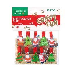Karácsonyi CF fa csipesz fenyőfa és hóember 10 db/csomag
