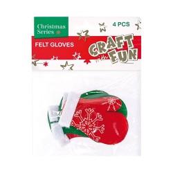 Karácsonyi filc CF kesztyű 4 db/csomag