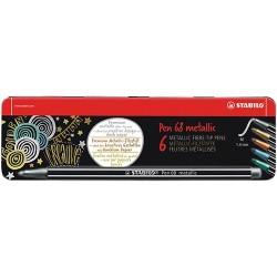 Rostirón Stabilo Pen 68 metallic 6 db-os klt. fémdobozos (2x ezüst, bronz, arany, metálkék, metálzöld)