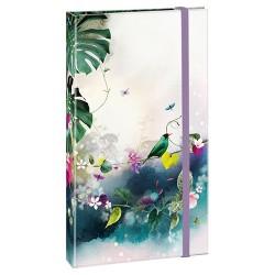 Jegyzettömb Clairefontaine Tropical Dream 9,5x16 cm, 50 lapos, keményfedeles, ceruzával