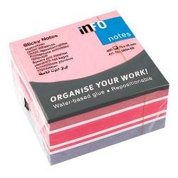 Öntapadós jegyzettömb Info Notes Mix 75x75 mm 400 lapos rózsaszín-fehér