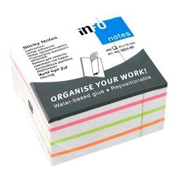 Öntapadós jegyzettömb Info Notes Mix 75x75 mm 450 lapos fehér-színes